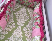 Tumble Roses, Avocado Damask, Pink Dot, and Hot Pink Bedding SWATCH SET, Make sure fabrics are exactly what you want before you order!