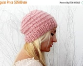 ON SALE Hand Knit Beanie Pink Slouchy Hat Beanie in pink Knit Tam Hat Knitted Slouchy Hat Mohair Beanie Rose Quartz Womens Slouchy Hat Gift