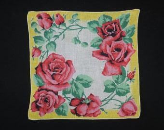 vintage red roses handkerchief, 1950's floral cotton hankie.