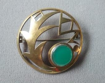 Art Deco Chrysoprase Glass Brooch Pin Antique