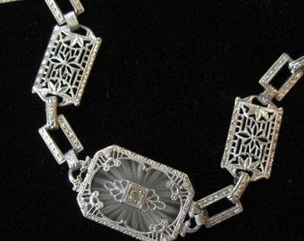 Edwardian Camphor Glass Filigree Bracelet