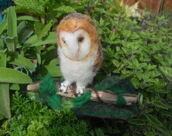 Needle Felted barn owl, baby owl on driftwood, collectible owl, nature scene, nature table,hand felted owl, home decor ornament,