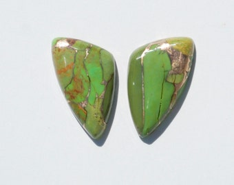 Kingman Green Turquoise Infused with Bronze Cabochon Pair