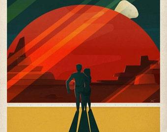 One SpaceX Mars Travel Poster - Phobos & Deimos