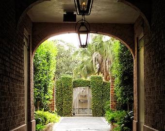 New Orleans Courtyard Photograph, New Orleans Art, Louisiana Decor, French Quarter Fine Art Photography, Wall Art, Green Secret Garden