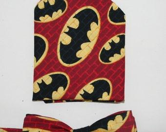 Men's Bow-tie & Pocket Square Set - Batman, Super hero, men's gift set