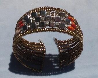 Vintage Beaded Wire Cuff Bracelet Hippie Boho Tribal Accessory Jewelry Adjustable