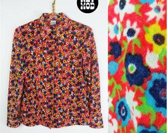 Vivid Vintage 60s 70s Soft Red Orange, Blue, Green, Yellow, White Flower Power Blouse Top Shirt!