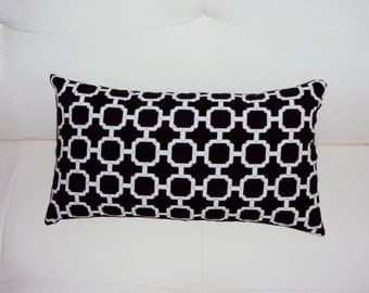 FREE SHIPPING 15x8 Outdoor Geometric Black and White Lumbar Pillow