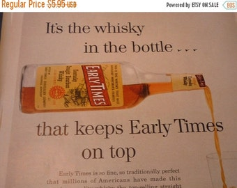 ON SALE: Vintage Ad - Early Times Whisky - Top Selling Whisky - 1950s classic ad -
