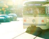 San Francisco Art, Cable Car, Photography,  Vintage Inspired Decor, wall art print, green, butter yellow, California, Fine Art Photograph