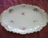 Antique GDA Limoges  France Serving Platter  Gold & Pink roses
