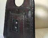 Vintage Tooled Leather Handbag / Boho Large Leather Bag / Brown Hippie Handbag / Leather Oversized Handbag / Leather Satchel