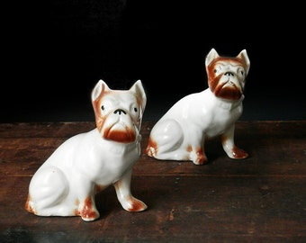French Bulldog Figurines, Boston Terrier Figurines, Vintage Dog Decor, Brown French Bullies