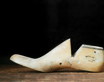 Two Wooden Shoe Forms, Pair of Shoe Stretchers, Instant Collection, Cobbler, Rustic Decor, Industrial Decor