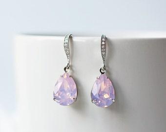 Rosewater Opal Swarovski Silver Earrings Pink Opalescent Pear Shape Cubic Zirconia