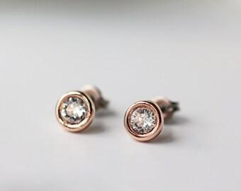 Tiny Swarovski Crystal Titanium Studs Rose Gold Clear Crystal Simple Dainty Everyday