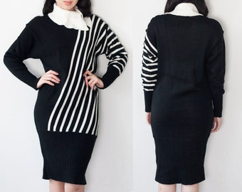 1990s Black & White Cowl Neck Sweater Dress S M