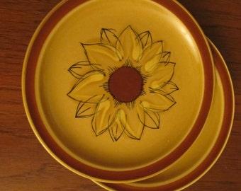 Vintage PLATES  Sunflower / SUNBURST AUTUMN Crest Stone 1960/70 Stoneware Japan