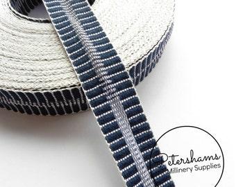Vintage 23mm Wide Stripe Crin Crinoline (Crin, Horsehair Braid) Ribbon - Blue with White Accent