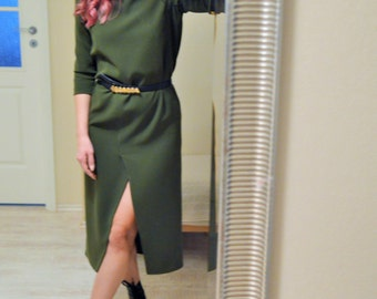 Green Shift Dress Handmade Midi Slit Length Spring Summer Fashion