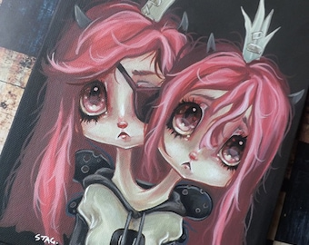 Original conjoined twin Fairy lowbrow Misfit art painting pop surreal