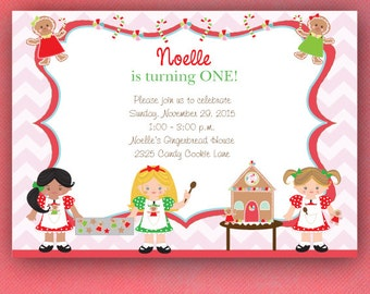 Cookie Decorating Party Invitations, Gingerbread Girl Invitations, Baking Party Invitations --PRINTED Invitations