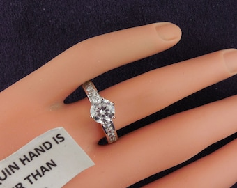 Sterling Solitaire Engagement Ring CZ