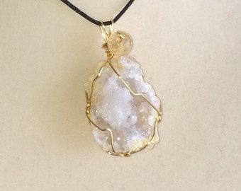 Wire Wrapped Druzy Quartz Crystal Cave Moroccan Geode Pendant