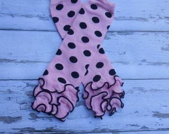Pink with black dot  ruffled Leg Warmers baby toddler girls ruffles dots Spring Summer