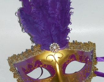 10 Mask mardi gras feather pad masks masquerade party favors centerpieces wedding 10 piece sweet 16 quinceanera purple