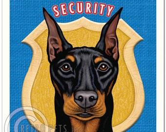 8x10 Doberman Pinscher Art - Doberman Security - Art print by Krista Brooks