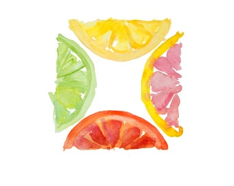 minimalist watercolor print: Citrus Square
