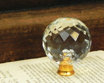 Vintage Clear Glass Faceted Ball Finial LAMP Chandelier PARTS Restore  Repurpose 1-1/2