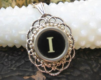 Typewriter Key Letter I - Oval Pendant with necklace