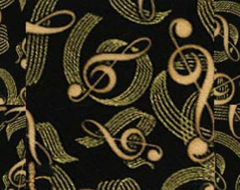 Timeless Treasures Comfort & Joy Metallic Music Notes Black Fabric by the yard CM6821-BLK