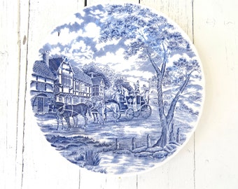 Blue and White Plate, Collectible Plate, Churchill Dinnerware, Royal Mail Blue, Dinner Plate, Vintage Plate, Blue Coaching Scene