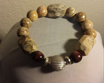 Natural Sterling Silver Beaded Jasper and Wood Bracelet One of a Kind
