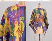 45% OFF SALE.... vintage embroidered cape • guatemalan huipil • woven cape • bohemian cape • ethnic wrap