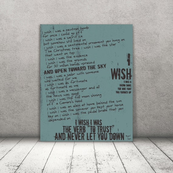 Wish List / Pearl Jam / Lyric / DIGITAL  Typography Poster / Printable