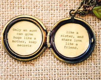 Aunt Locket - Womens Lockets - Quote Lockets - Only an aunt can give hugs like a mother, keep secrets like a sister, and share love