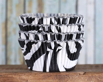 Zebra Stripe Cupcake Liners, Black Cupcake Liners, Animal Print Cupcake Liners, Backing Cupcake, Black and White Cupcake Liners (90 count)