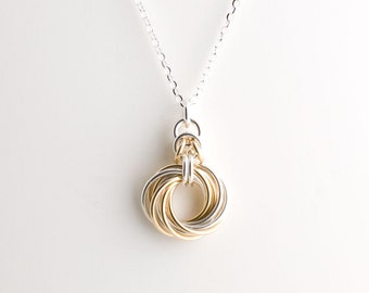 10 Ring Byzantine Love Knot Infinity Necklace - Sterling Silver and 14k Yellow Gold Fill
