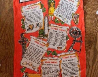 Vintage Irish Recipes Linen Tea Towel Made In Ireland