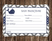 Whale,  Baby Shower, Prediction Card, Boys, Chevron, Stripes, Navy, Gray, Blue, Grey, Little Squirt, 24 Printed Cards, FREE Shipping, WHLNG
