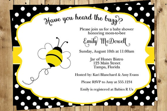 Bumble Bee, Baby Shower, Invitations, Neutral, Yellow, Buzzing Around, Polka Dots, 10 Printed Invites, Free Shipping, Babee, Unisex, Custom