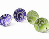 Earrings, Paisley Aluminum Disc, Purple or Lime Green, Argentium Silver Earwires, Handmade