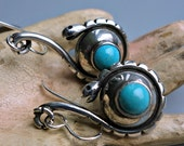 Snake Earrings Vintage Taxco Mexico Sterling Turquoise