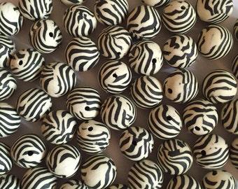 10 x 12mm polymer clay zebra print round beads