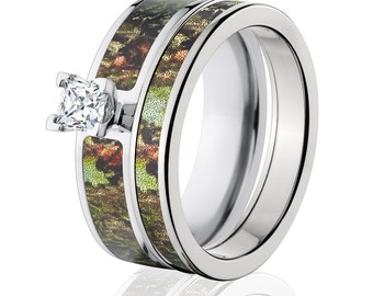 Cobalt Camo Bridal Set with Mossy Oak Obsession, Camo Ring Sets Camo Wedding Ring : COB-6F14G5PCTW and 4HR_Obsession